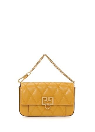 Givenchy Kadın Hardal Logolu Kapitone Detaylı Deri Çanta Sarı Ürün Resmi