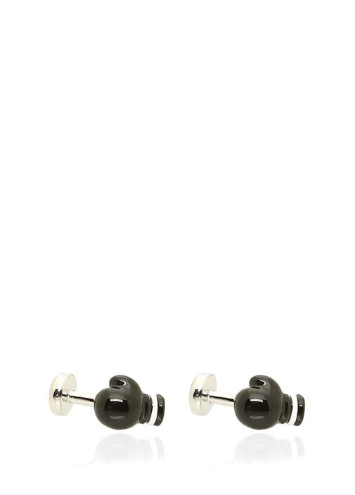 Silver Siyah Boks Eldiveni Formlu Kol Düğmesi