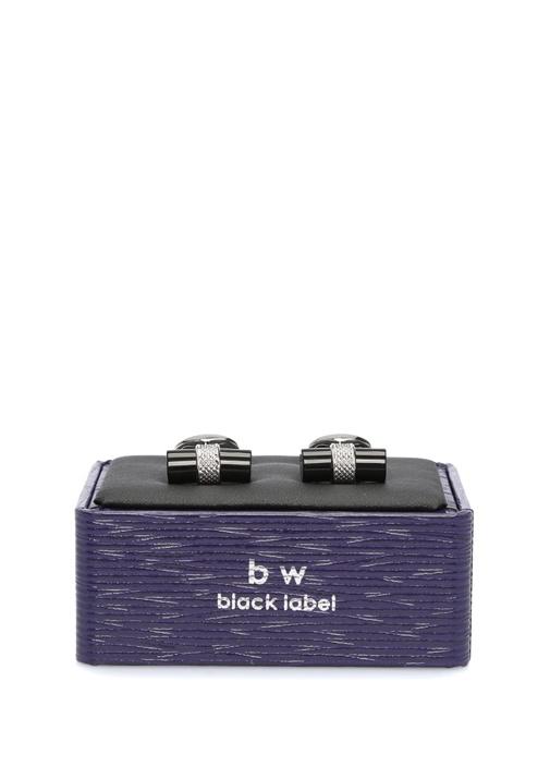 Silver Siyah Silindir Formlu Kol Düğmesi