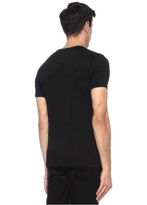 Rocket Siyah Balık Nakışlı Basic T-shirt