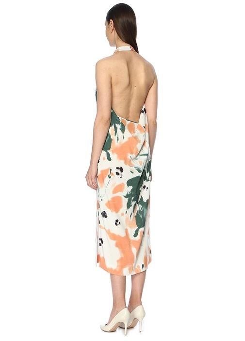 Dufia Halter Yaka Desenli Sırt Detaylı Midi Elbise