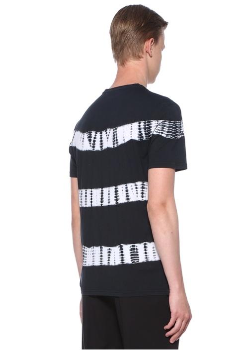 Siyah Batik Desenli Basic T-shirt