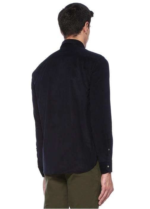 Comfort Fit Lacivert Düğmeli Yaka Kadife Gömlek