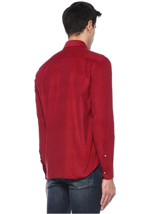 Comfort Fit Kırmızı Düğmeli Yaka KadifeGömlek