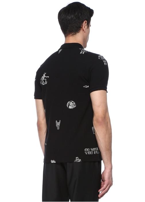 Siyah Polo Yaka Karalama Baskılı T-shirt