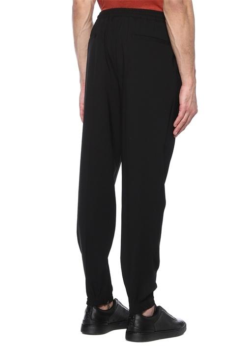 Siyah Normal Bel Dar Paça Yün Spor Pantolon