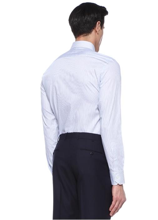 Drop 6 Beyaz Mavi Çizgili İngiliz Yaka Gömlek