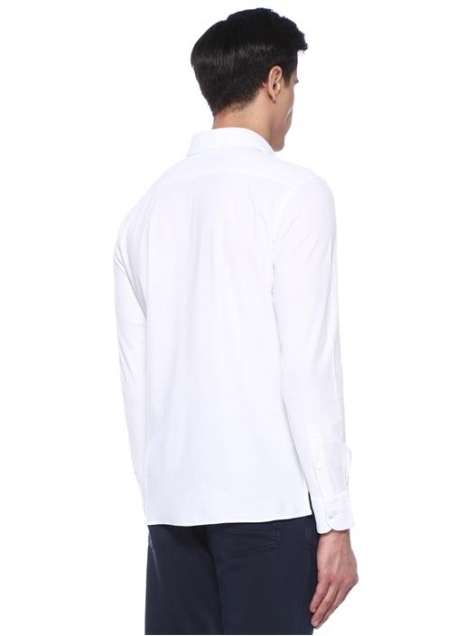 Beyaz Pike Dokulu Polo Yaka T-shirt