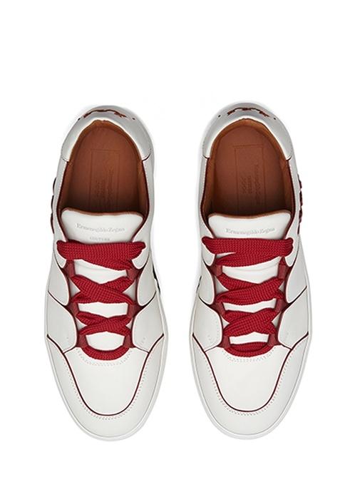 Tiziano Beyaz Logolu Erkek Deri Sneaker