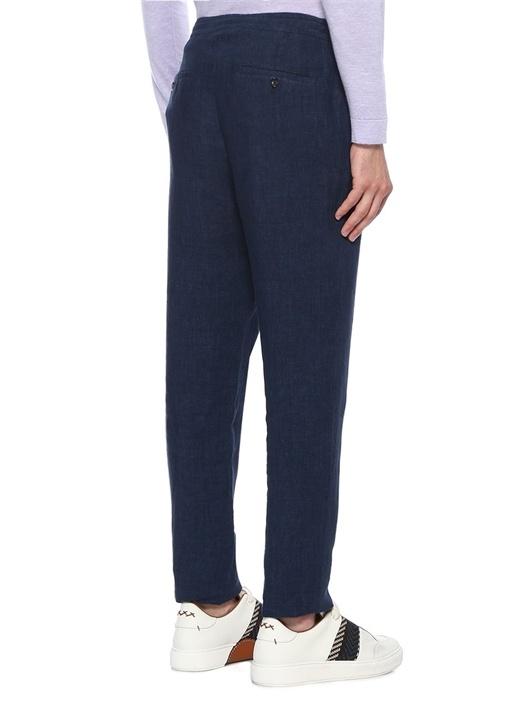 Lacivert Denim Görünümlü Keten Pantolon