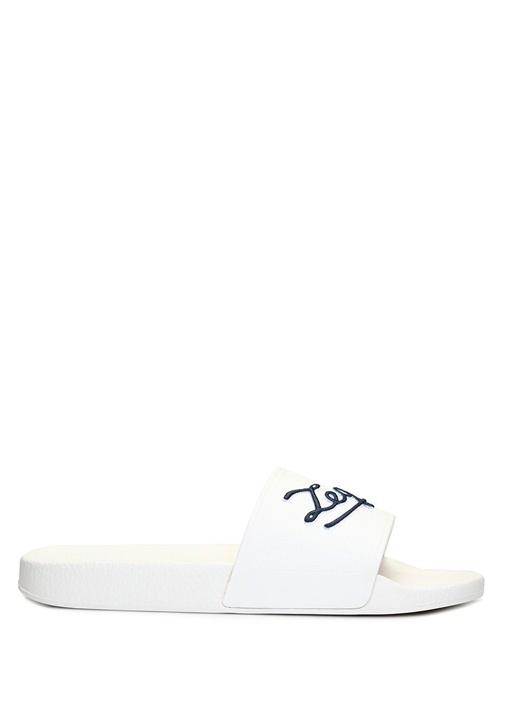 Beyaz Lacivert Logolu Erkek Plaj Terliği