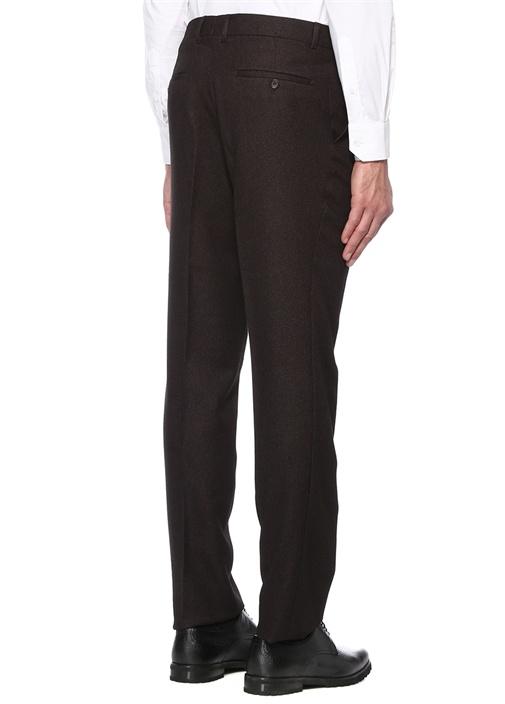 Bordo Normal Bel Pike Dokulu Yün Pantolon