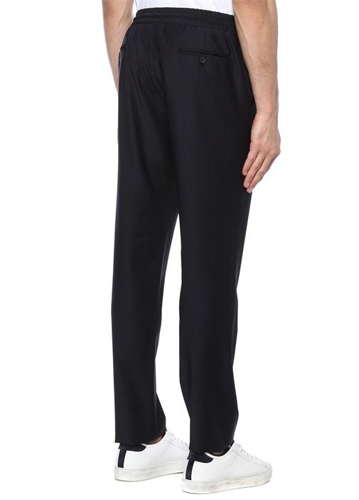 Lacivert Beli Büzgülü Klasik Yün Pantolon