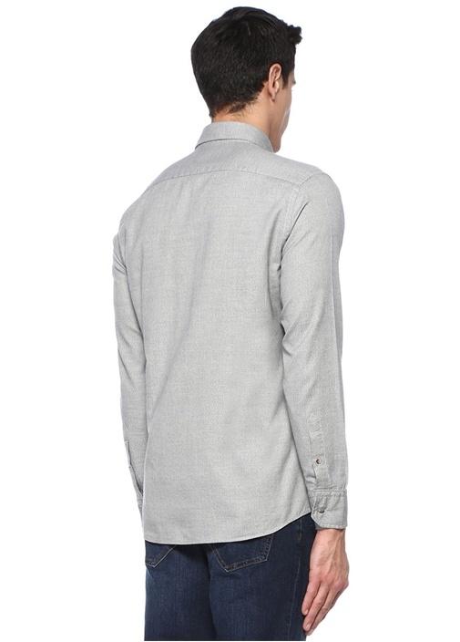 Slim Fit Gri Logo Nakışlı Gömlek