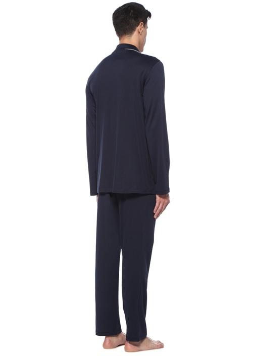 Lacivert Biyeli Apaç Yaka Pijama Takımı
