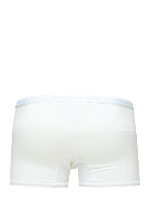 Beyaz Logo Lastikli Erkek Boxer