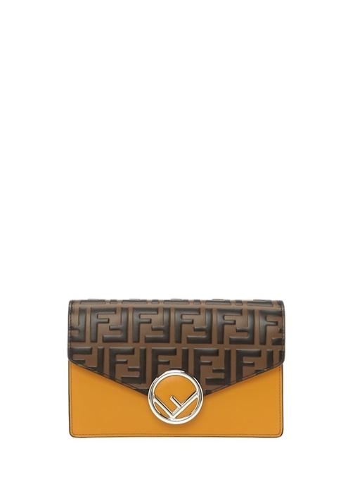 Medium Kabartmalı Logolu Kadın Deri Omuz Çantası