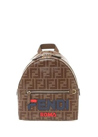 Fendi Kadın Mini Kahverengi Logolu Sırt Çantası uruncu Ürün Resmi