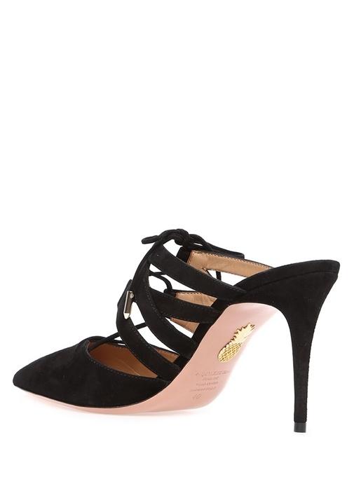 Belgravia Siyah Düğmeli Süet Topuklu Ayakkabı