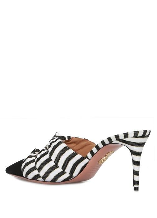 Mondaine Siyah Beyaz Çizgili Kadın Topuklu Ayakkab