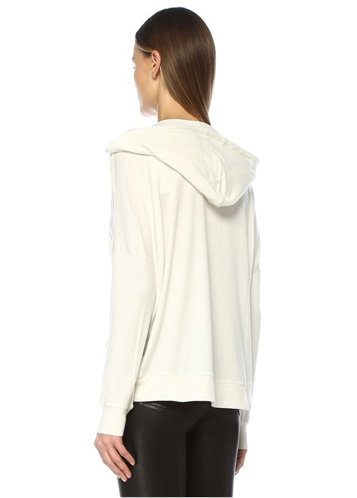 Beyaz Kapüşonlu Sweatshirt