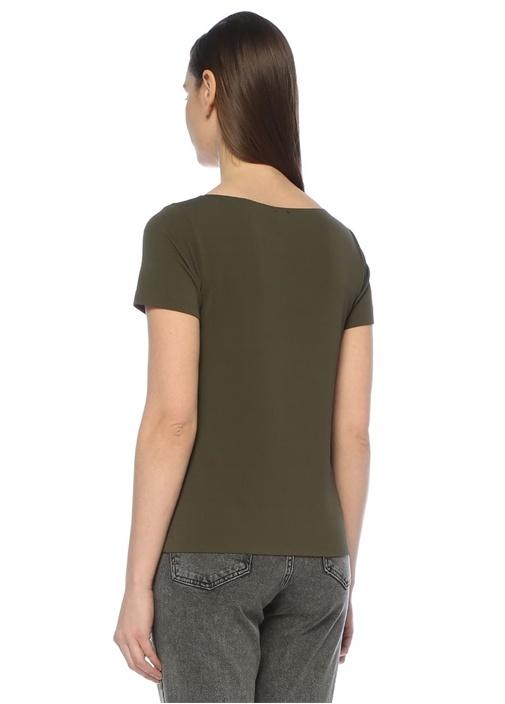 Haki U Yaka Dikişsiz Kısa Kol T-shirt