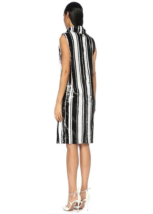 Siyah Beyaz Dik Yaka İşlemeli Çizgili Midi Elbise