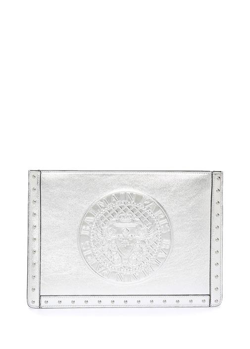 Balmaın Metalik Gri Logolu Troklu Kadın Deri Elportföyü – 4149.0 TL