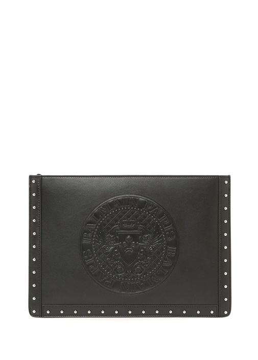 Balmaın Siyah Logolu Silver Troklu Kadın Deri El Portföyü – 5195.0 TL