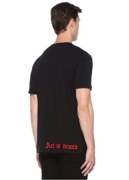 Tobias Siyah Yazı Baskılı Basic T-shirt