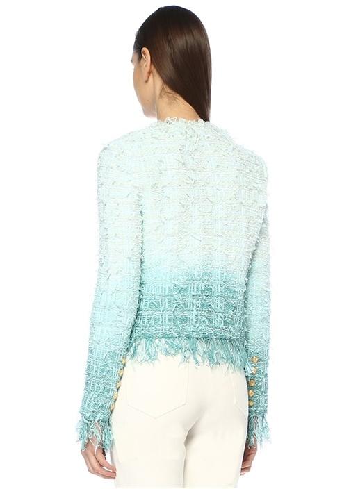 Mavi Degrade Simli Gold Düğmeli Tweed Ceket