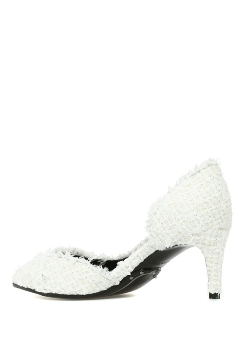 Julie Beyaz Logolu Dantelli Topuklu Ayakkabı