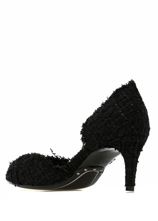 Julie Siyah Logolu Dantelli Topuklu Ayakkabı