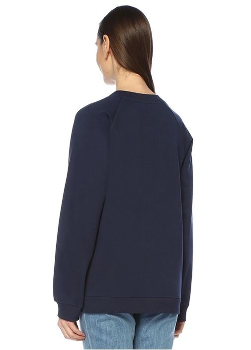 Lacivert Beyaz Logo Baskılı Reglan Kol Sweatshirt