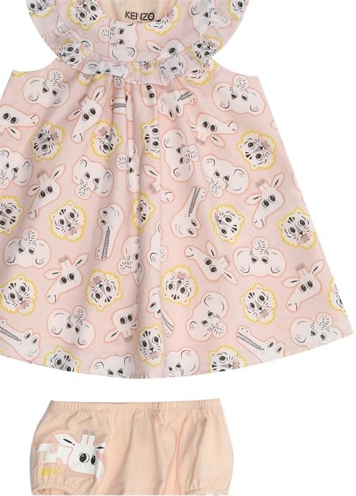 Jungle Pembe Fırfır Detaylı Kız Bebek Elbise