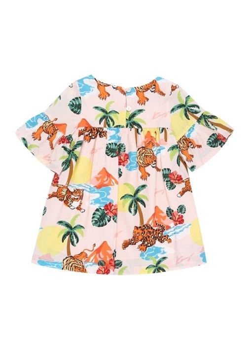 Hawai Pembe Kaplan Baskılı Kız Çocuk Elbise