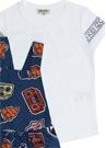 Lacivert Baskılı T-shirt Detaylı Kız Çocuk Elbise