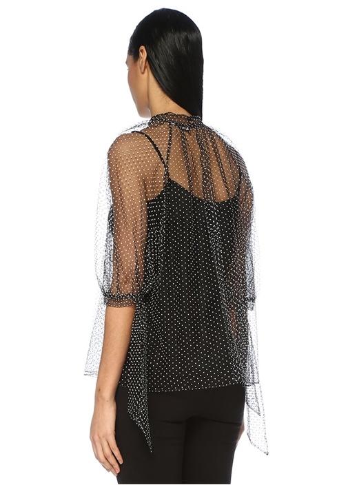Nayla Siyah Beyaz Puantiyeli TransparanTül Bluz