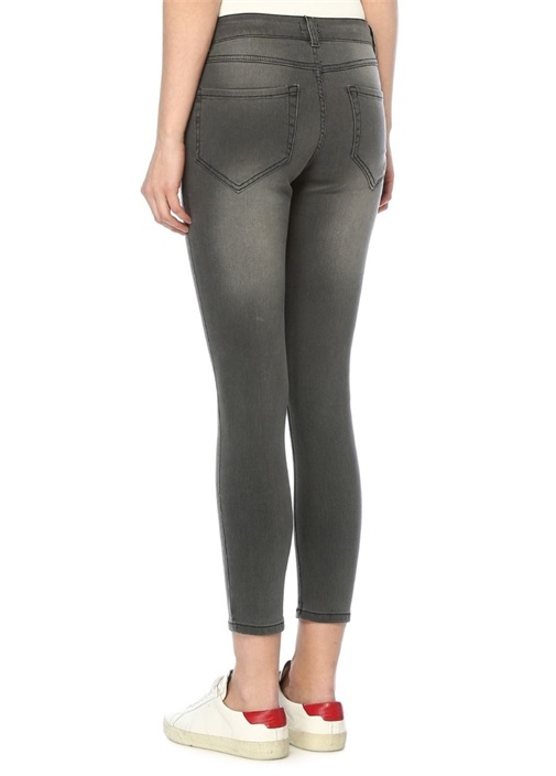 Gri Cebi Taş İşlemeli Skinny Jean Pantolon