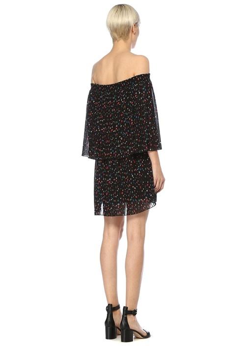 Siyah Omzu Açık Çiçekli Pileli Mini Şifon Elbise