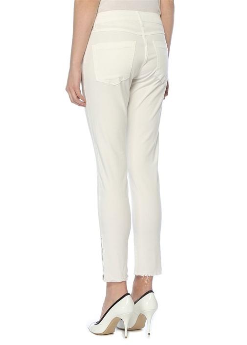 Beyaz Paçası Fermuarlı Parça Boya Skinny Pantolon
