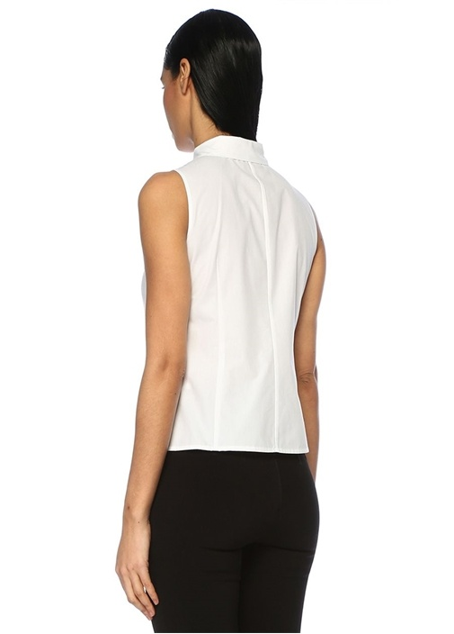 Beyaz Kolsuz Koton Gömlek