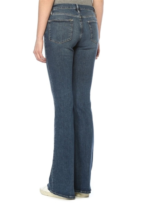 Yüksek Bel Skinny Flared Jean Pantolon