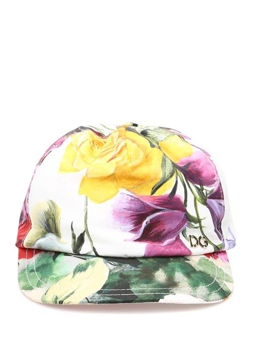 Beyaz Çiçek Baskılı Logolu Kız Çocuk Şapka