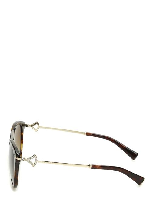 Kahverengi Yuvarlak Formlu Taşlı Güneş Gözlüğü