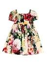 Colorblocked Çiçek Baskılı Kız Çocuk Elbise