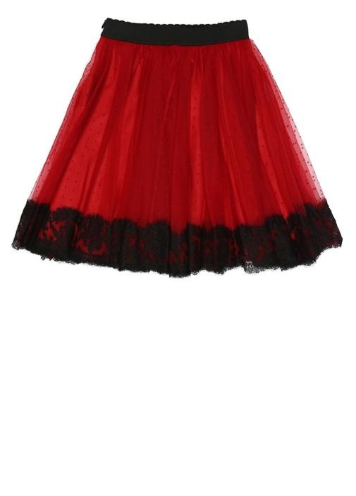 Kırmızı Dantel Detaylı Kız Çocuk Tütü Etek
