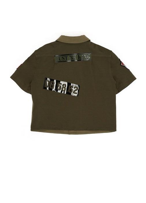 Haki Patch Detaylı Erkek Çocuk Yarım Kol Gömlek