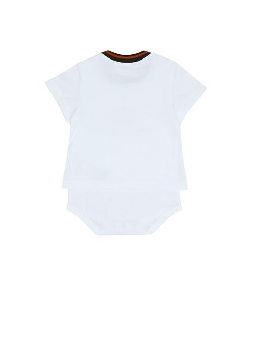 Beyaz Logo Baskılı Erkek Bebek Tulum