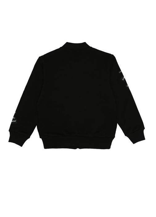 Siyah Logo Patchli Erkek Çocuk Sweatshirt